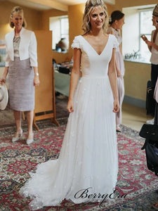 Cap Sleeves V-neck Wedding Dresses, Appliques Newest Long Wedding Dresses
