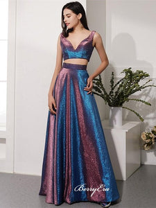 Two Pieces Shemmering Long Prom Dresses, Fancy 2020 Newest Prom Dresses
