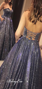 Shiny Strapless School Evening Party Prom Dresses, Popular 2020 Prom Dresses