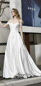 Popular A-line 2020 Wedding Dresses, Off Shoulder Lace Wedding Dresses