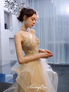 V-neck Beaded Long Prom Dresses, Unique Tulle A-line Prom Dresses 2020
