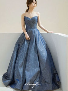 Strapless Elegant Newest Evening Party Prom Dresses, Sweetheart 2020 Glitter Prom Dresses