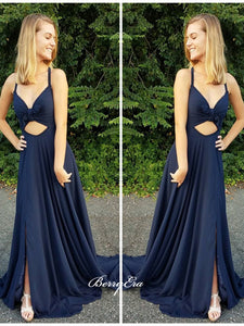 Unique Design Slit Prom Dresses, A-line Party Long Prom Dresses