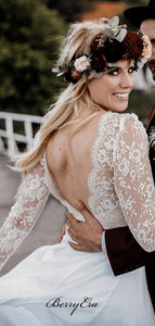 V-neck Long Sleeves Wedding Dresses, Lace A-line Wedding Dresses
