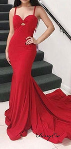Simple Design Mermaid Prom Dresses Long, Red Party Prom Dresses