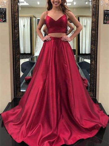 2 Pieces Long A-line Red Satin Simple Design Prom Dresses