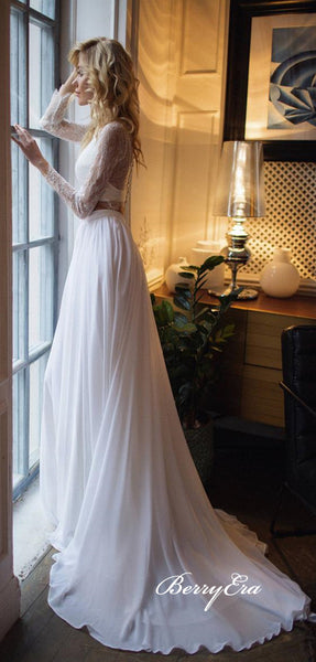 2 Pieces Long Sleeves Lace Top Chiffon Long Wedding Dresses