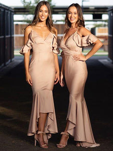 Spaghetti Straps Mermaid Wedding Guest Dresses, Off Shoulder Long Bridesmaid Dresses