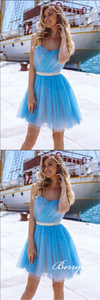 Ice Blue Tulle Beaded Short Prom Dresses, Homecoming Dresses