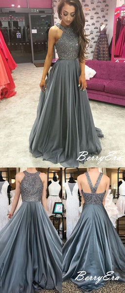 Rhinestone Halter Sequins Prom Dresses, Formal Long Prom Dresses