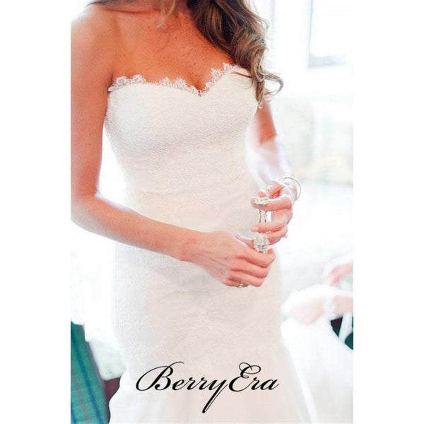 Lace Strapless Wedding Dresses, Mermaid Popular Wedding Dresses, Bridal Dresses