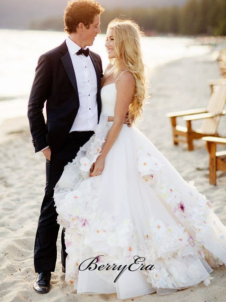 Two Pieces Appliques Wedding Dresses, A-line Tulle Beach Bridal Gowns