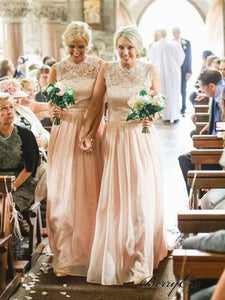 Illsuion Lace Top Chiffon A-line Long Bridesmaid Dresses