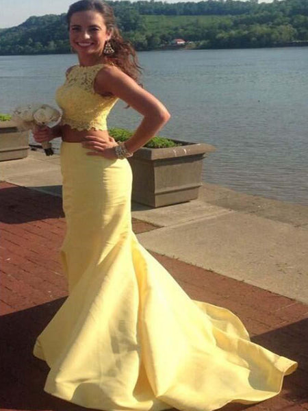 Unique Yellow Two Pieces Lace Prom Dresses, Mermaid Long Prom Dress