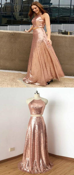 Two Pieces A-Line Halter Sequins Long Prom Dresses