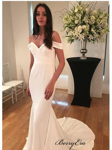 Off Shoulder Simple Wedding Dresses, Mermaid Weddng Dresses, Bridal Gowns