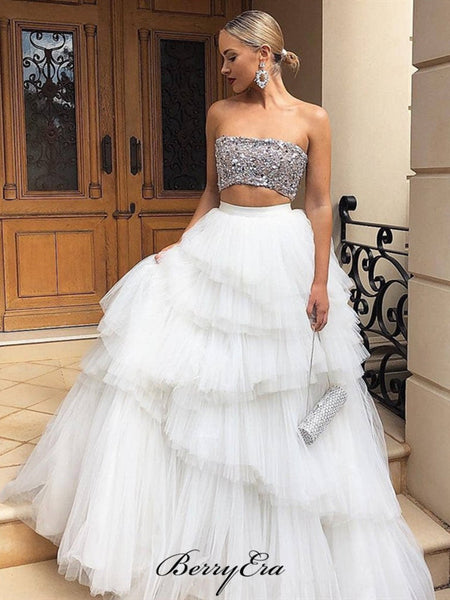 Unique Fluffy Fashion Prom Dresses, Two Pieces Sequins Prom Dresses