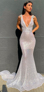 Deep V-neck Mermaid Long Prom Dresses, See Through Sexy Prom Dresses