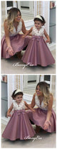 Fancy Girl Flower Dresses, Beaded Satin A-line Flower Girl Dresses