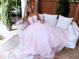 Strapless Sweetheart Prom Dresses Long, Lace Beaded Elegant 2020 Prom Dresses