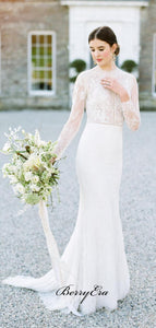Long Sleeves Popular Wedding Dresses, Custom Design Lace Bridal Gowns