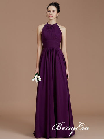 Lovely Purple Chiffon A-line Open Back Bridesmaid Dresses
