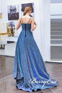 Long A-line Shemmering Fabric Prom Dresses, Elegant Long Prom Dresses, Prom Dresses