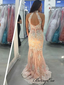 High Neck Sleeveless Prom Dresses, Lace Mermaid Prom Dresses Long