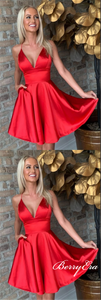 Spaghetti Red Satin Homecoming Dresses, Short Prom Dresses