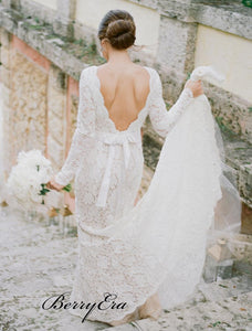 Long Sleeves Deep V-neck Wedding Dresses, Popular Lace Wedding Dresses