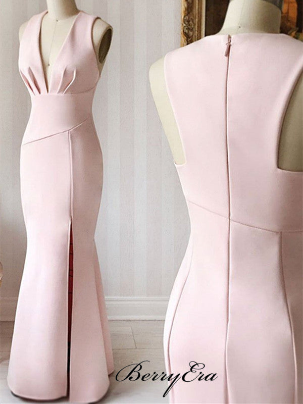 Mermaid Pink Prom Dresses, Newest Prom Dresses, Cheap Popular Prom Dresses Long