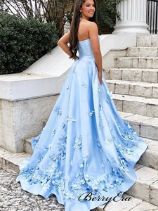 Beauty Blue Color Appliques Prom Dresses, A-line Flower Prom Dresses