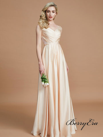 V-neck Elastic Sain A-line Newest Long Bridesmaid Dresses