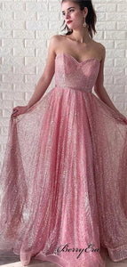 Newest Strapless Long Prom Dresses, Sequins Prom Dresses, Prom Dresses