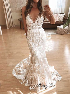 Popular Lace Wedding Dresses, V-neck Wedding Dresses, Newest Bridal Gowns