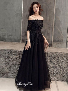 Off Shoulder Black Lace Prom Dresses, Appliques Tulle Elegant 2020 Prom Dresses
