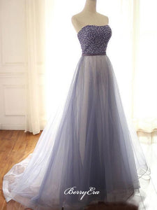 Strapless Tulle Prom Dresses, A-line Prom Dresses, Beaded Long Prom Dresses