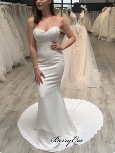 Simple Wedding Dresses, Strapless Mermaid Wedding Dresses, Cheap Wedding Dresses
