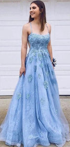Spaghetti Straps Popular Lace Prom Dresses, Elegant Appliques Long Prom Dresses