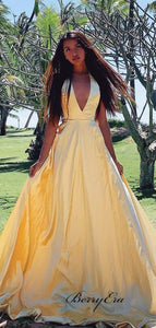 V-neck 2020 Newest Prom Dresses, Simple Prom Dresses, Popular Long Prom Dresses