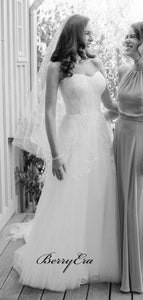 Strapless Lace Elegant Wedding Dresses, A-line Tulle Lace Bridal Gowns