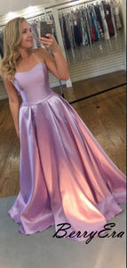 A-line Light Purple Satin Prom Dresses, Cheap Prom Dresses 2019