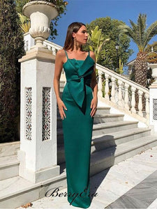 Modest Bow Design Spaghetti Straps Prom Dresses, Fancy Party Prom Dresses Newest
