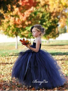 One Shoulder Tulle Little Girl Dresses, Princess Wedding Flower Girl Dresses