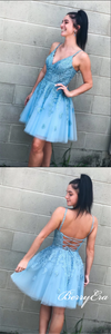 V-neck Blue Lace Beaded Homecoming Dresses, Short Prom Dresses