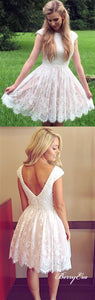 Cap Sleeves Beaded Top Lace Short Prom Dresses, Homecoming Dresses
