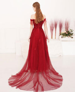Newest A-line Long Prom Dresses, Lace Tulle 2020 Prom Dresses Long