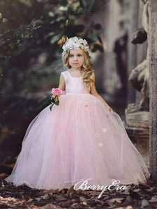 Pink Flower Girl Dresses, Appliques Cute Girl Wedding Flower Girl Dresses