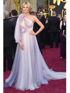 Pale Purple One Shoulder Sexy Long Sleeve Long Prom Dress 2019