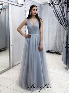 Simple Design Tulle Prom Dresses, V-neck Prom Dresses, Cheap Party Prom Dresses Long